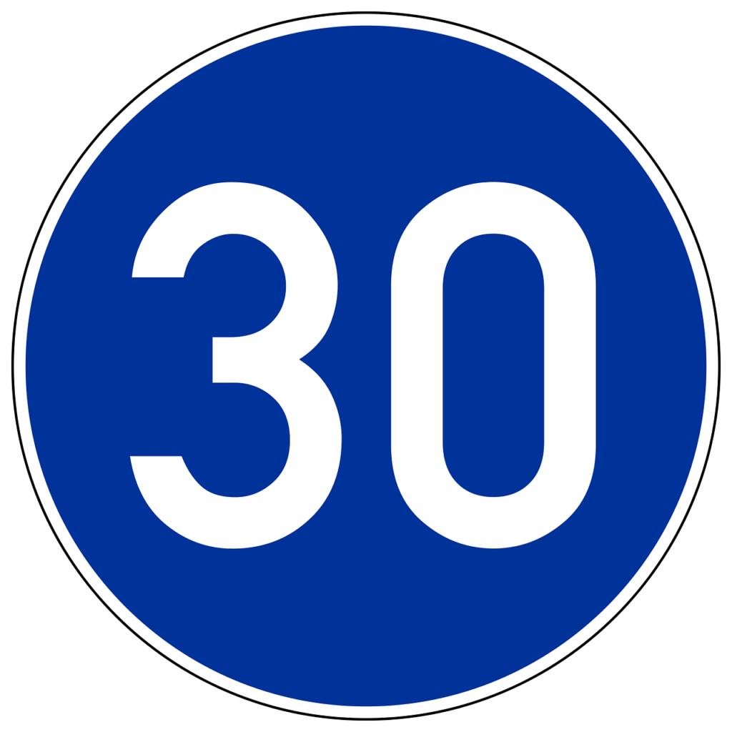 Dieses Zeichen zeigt die vorgeschriebene Mindestgeschwindigkeit an.