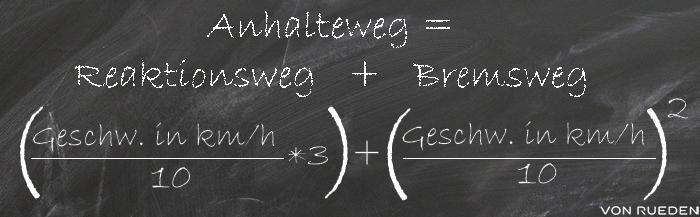 Anhalteweg berechnen bei normaler Bremsung: Anhalteweg-Formel = Reaktionszeit + Bremszeit
